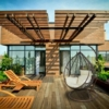 Kép 5/6 - NOELA barna függő fotel krémszínű párnával