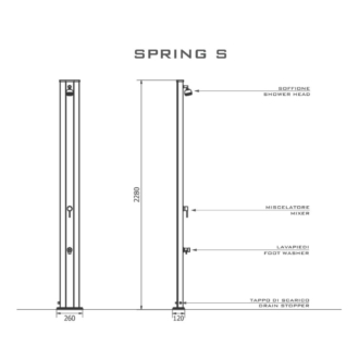 Spring S A200 egyenes kerti szolár zuhany
