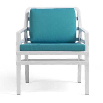 Aria Fehér fotel - Szardínia kék párnákkal